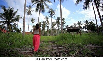 help., 1920x1080, koh, jungle, thailand., samui, appelle, femme, perdu, hd., jeune
