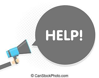 help., texte, illustration, signe, megaphone., vecteur, parole, tenant main