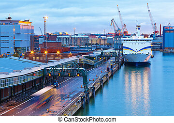 helsinki, soir, vue, port, finlande