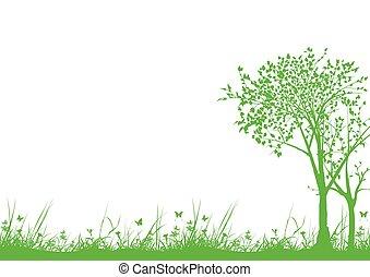 herbe, arbres