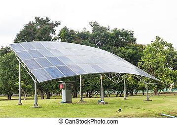 herbe champ, vert, panneaux solaires