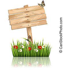 herbe, fond, nature, bois, signe, vert, vector., fleurs