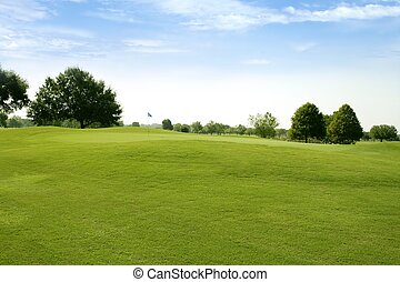 herbe, golf, champs, vert, beautigul, sport