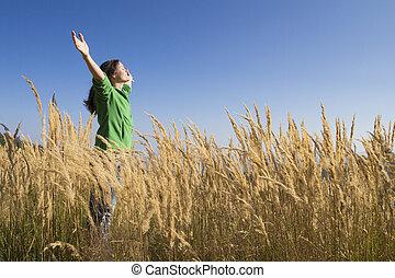 herbe, heureux