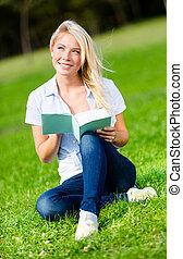 herbe, livre, vert, lecture, jolie fille, assied