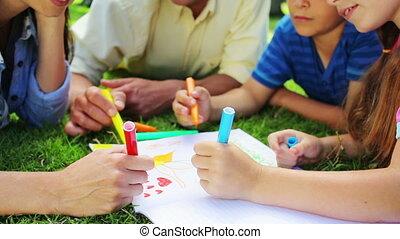 herbe, quoique, dessin, mensonge, ensemble, famille, heureux