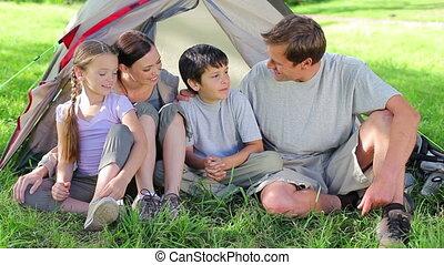 herbe, sourire, ensemble, famille, séance