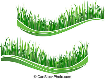 herbe, vert, vagues