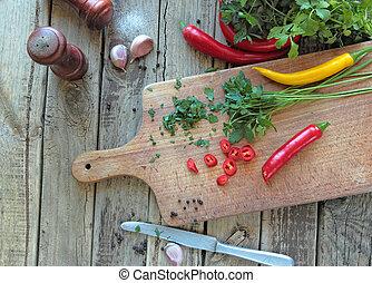 herbes, légumes, frais, cuisine, bureau