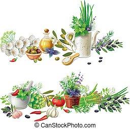 herbes, légumes, pots, bannières, aromatique