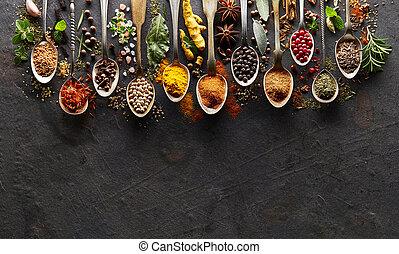 herbes, planche, graphite, épices