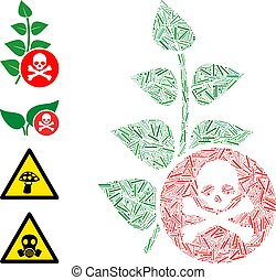 herbicide, icône, vecteur, toxine, collage, linéaire