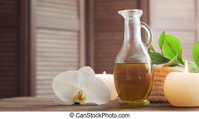 herbier, bien-être, meditation., pierres, oriental, arrière-plan., bougies, spa, balls., masser, fleurs, serviette, thérapie, masage