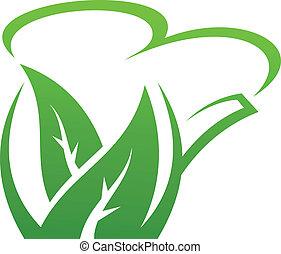 herbier, frais, vert, théière