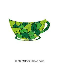 herbier, organique, thé, logo, tasse, feuille, sain, vie