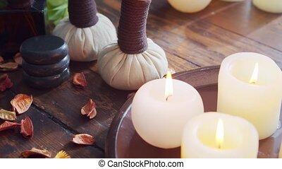 herbier, serviette, fleurs, bougies, pierres, masser, masage, thérapie, meditation., spa, oriental, bien-être, arrière-plan., balls.