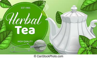 herbier, vert, ou, feuilles thé, théière, cuillère, maille