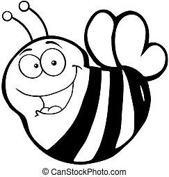 heureux, abeille, caractère, dessin animé, mascotte