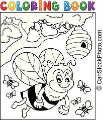 heureux, abeille, thème, 2, livre coloration