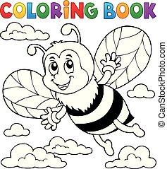 heureux, abeille, thème, coloration, 1, livre