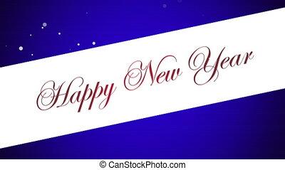 heureux, animé, année, fond, nouveau, bleu, texte, closeup