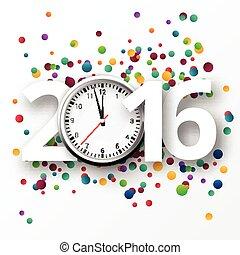 heureux, année, confetti., nouveau, 2016, célébration