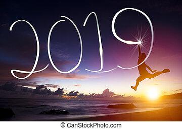 heureux, année, nouveau, 2019., sauter, dessin, homme, plage