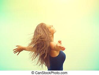 heureux, apprécier, girl, élévation, beauté, extérieur, mains, femme, nature.