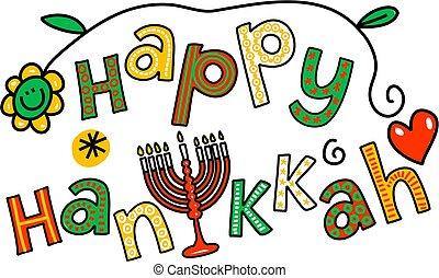 heureux, art, agrafe, hanukkah