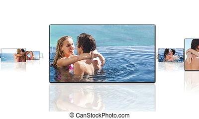 heureux, autre, couples, embrasser, chaque