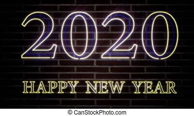 heureux, bannière, lumière, réaliste, clignotant, 2020, année, coloré, wall., brique, nouveau, signe néon