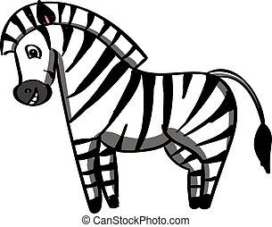heureux, blanc, zebra, arrière-plan., vecteur, illustration