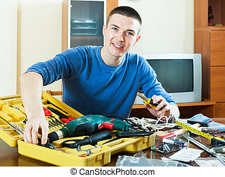 heureux, boîte outils, outils, maison, type