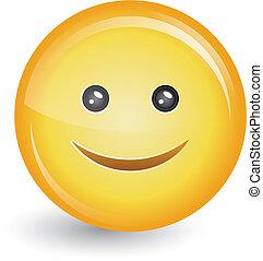 heureux, bouton, smiley, écusson, figure