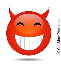 heureux, bouton, visage smiley