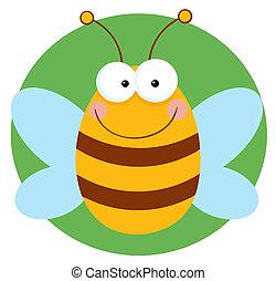 heureux, caractère, dessin animé, abeille
