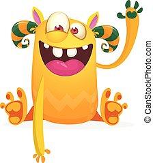 heureux, caractère, vecteur, monster., dessin animé