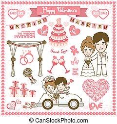 heureux, carte, valentin