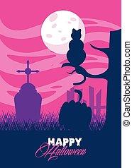 heureux, chat, carte, scène, cimetière, halloween, célébration