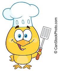 heureux, chef cuistot, poussin jaune