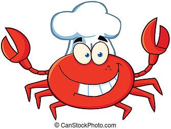 heureux, crabe, chef cuistot