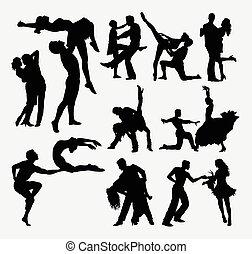 heureux, danse, silhouette, couple