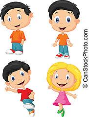 heureux, dessin animé, enfants