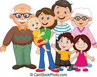 heureux, dessin animé, famille