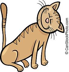 heureux, dessin animé, illustration, chat