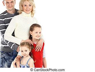 heureux, deux, famille, enfants