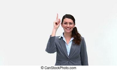 heureux, devant, femme affaires