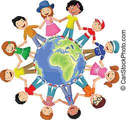 heureux, di, cercle, enfants, dessin animé