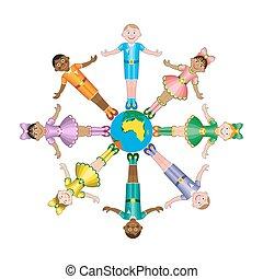 heureux, différent, races, cercle, enfants