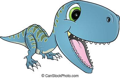 heureux, dinosaure, t-rex, vecteur